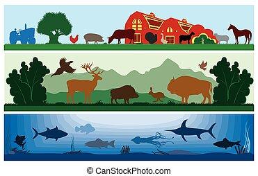 set of black and white vector landscapes wildlife, farm, marine life