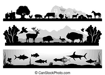set of black and white vector landscapes wildlife, farm, ...