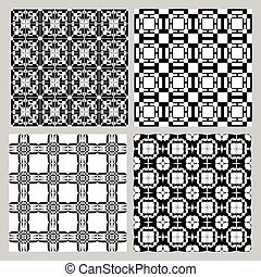 Set of black and white vintage patterns. Decorative tile collection in art deco style. Repeatable geometric ornament.