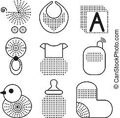 Set of black baby's symbols