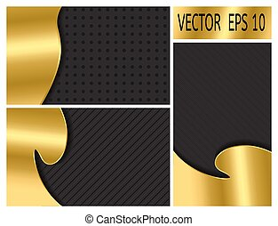 set of black background with gold