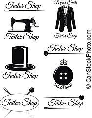 Set of black badges for tailor shops