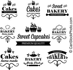 Set of black bakery logos