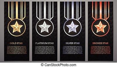 Set of black banner, Gold, platinum, silver and bronze star, Vector illustration.
