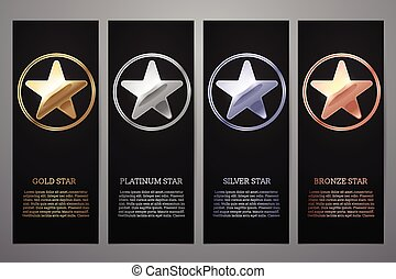 Set of black banners, Gold, platinum, silver and bronze star, Vector illustration