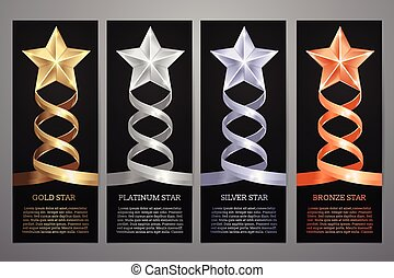 Set of black banners, Gold, platinum, silver and bronze star, Vector illustration. l