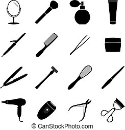Set of black beauty icons, vector illustration