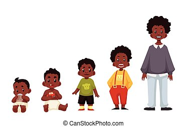 Set of black boys from newborn to infant toddler schoolboy