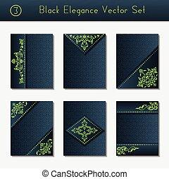 Set of black brochure designs