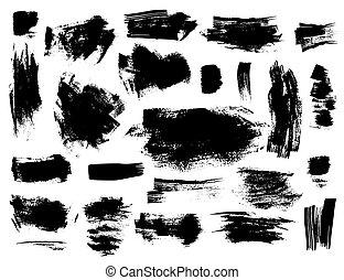 Set of black brushstrokes on white