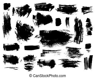 Set of black brushstrokes on white