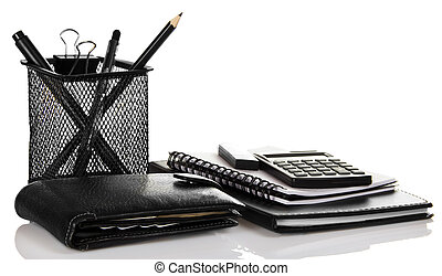 Set of black business accessories - A set of office...