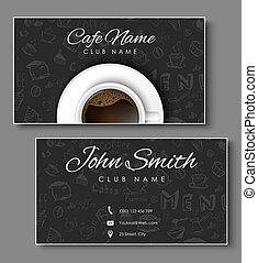 Set of black business cards for coffee shops