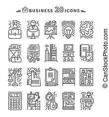 Set of Black Business Icons on White Background - Set of...