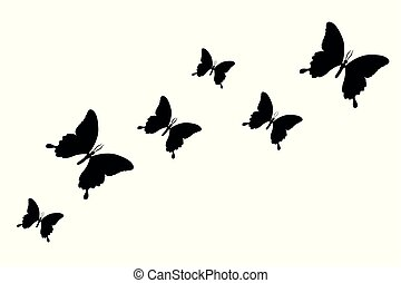 set of black butterfly silhouette isolated on a white background