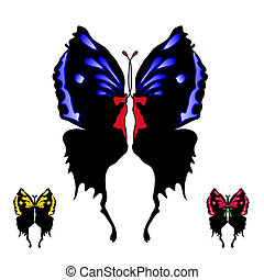 set of black butterfly with open wings