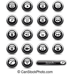 Set of black buttons