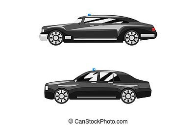 Set of Black Cars Luxury Road Vehicles, Side View of Business Sedan Flat Vector Illustration