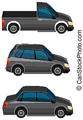Set of black cars on white background