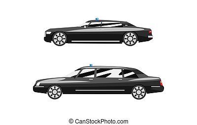 Set of Black Cars Road Vehicles, Side View of Business Luxury Cars Flat Vector Illustration