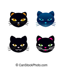set of black cat heads