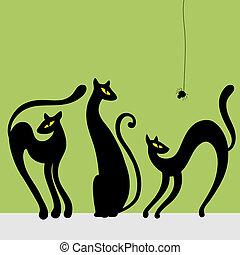 Set of black cat silhouettes