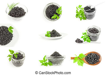 Set of black caviar isolated on a white background cutout