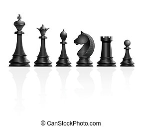 Set of black chess pieces. Vector illustration