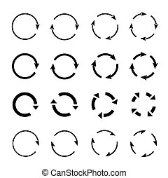 Set of black circle arrows. Vector Icons