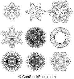 Set of Black Circle Ornaments
