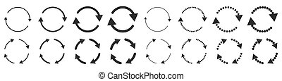 Set of black circle vector arrows isolated