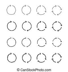Set of black circle vector arrows.