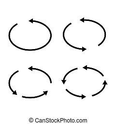 Set of black circle vector arrows. Vector Icons