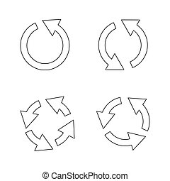 Set of black circle vector arrows. Vector Icons