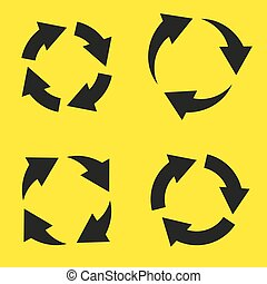Set of black circular arrows on a yellow background
