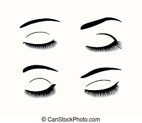 Set of black close eyes. Vector eyelashes and eyebrows silhouettes