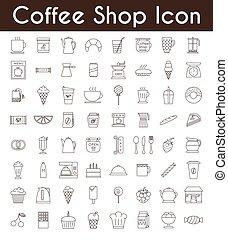 Set of black coffee and tea icons
