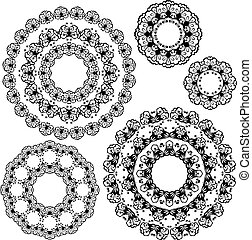 Set of black color round ornaments isolated on white background,