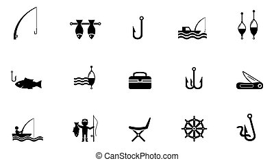fishing isolated icons - set of black concept fishing...