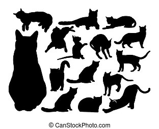 set of black contour cats. vector illustration