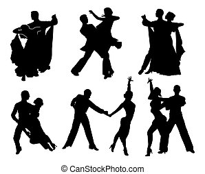 set of black contours dancing couples