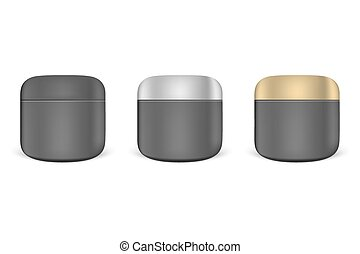Set of black cream jar mockups