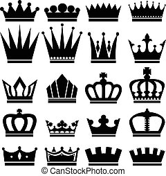 Set of black crown icons, vector illustration