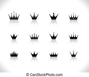 Set of black crowns.