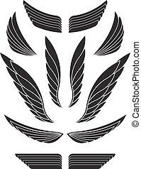 Set of black decorative wings. Vector illustration.
