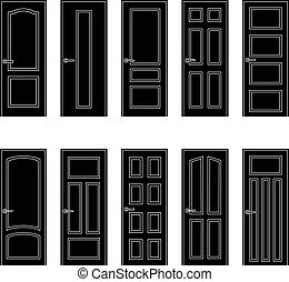 Set of black door icons, vector illustration