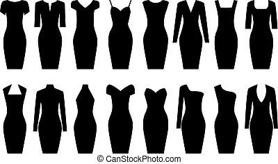 Set of black dresses, vector illustration