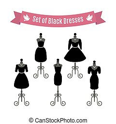 Set of Black Dresses. Vintage dresses on mannequins. Vector.