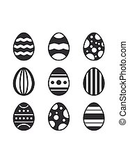Set of black Easter Eggs decorated with ornament on white