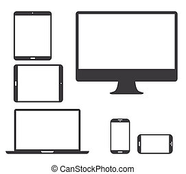 Set of black electronic devices